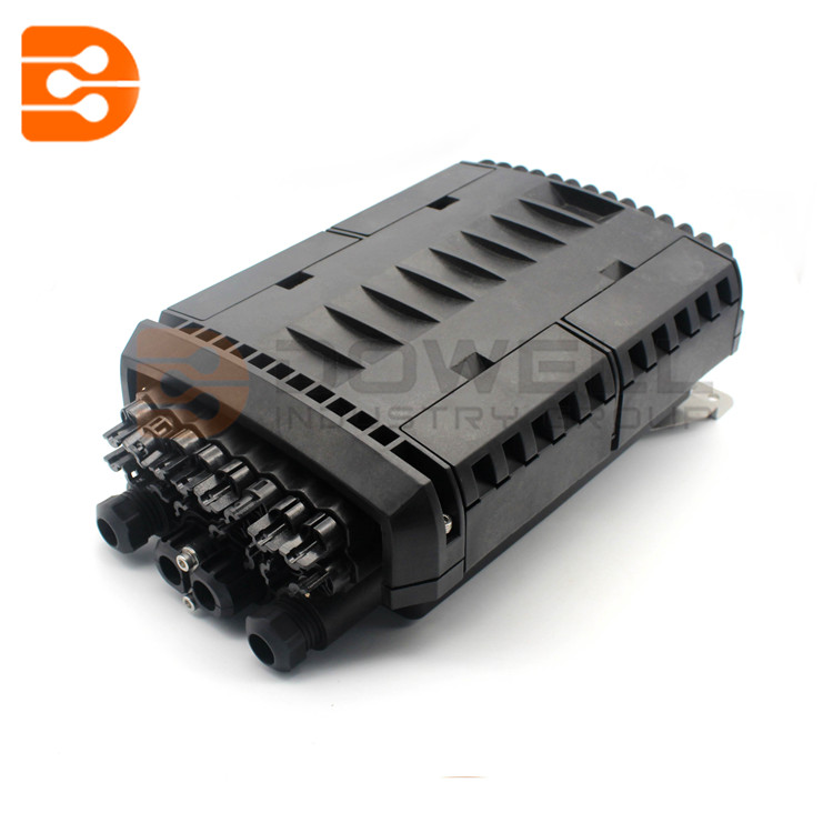 16 Ports FTTH Drop Cable Fiber Optic Splice Closure , Black PP Outdoor Splitter Joint Closure