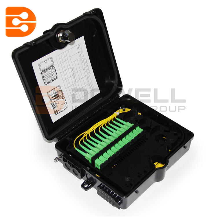 DW-1210 12 Core Outdoor Fiber Termination Box ,Wall Mounted Fiber Optic Connection Box